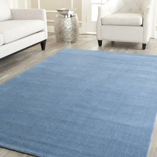 Safavieh Handmade Himalaya Solid Blue Wool Rug (8' Square)