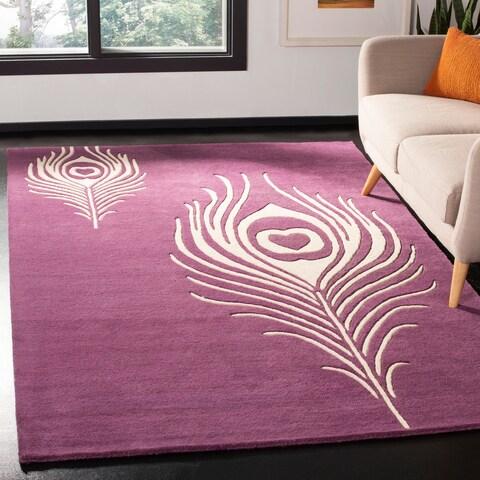 Safavieh Handmade Peacock Feather Purple New Zealand Wool Rug - 8' x 8' Square