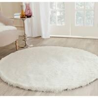 Safavieh Handmade Silken Glam Paris Shag Ivory Rug - 9' x 9' Round