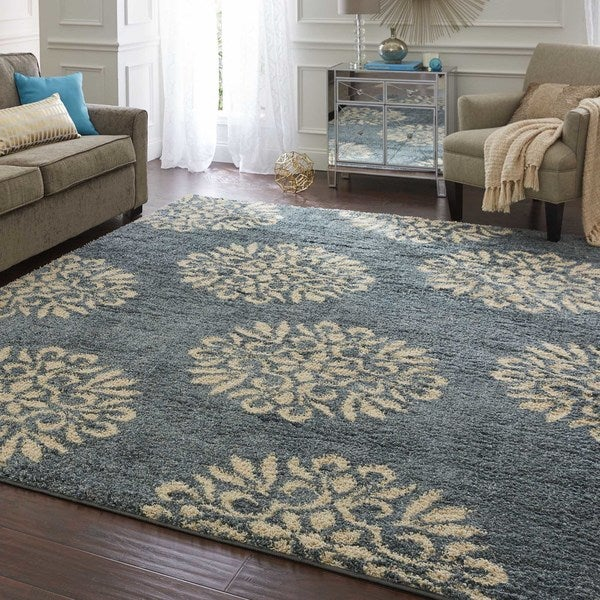 Mohawk Home Bay Blue Huxley Exploded Medallions Area Rug (8u0026#x27; X 10u0026