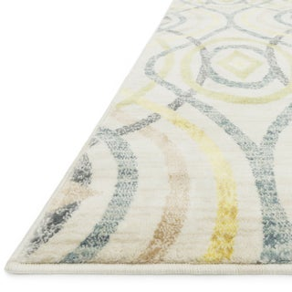 "Contemporary Yellow/ Grey Geometric Area Rug - 3'9"" x 5'2"""