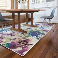 Contemporary Pink/ Green Floral Area Rug - 5'2 x 7'7