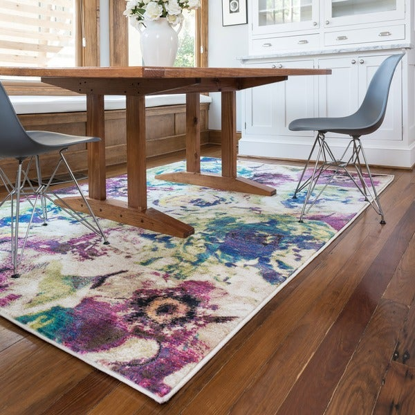 Contemporary Pink/ Green Floral Area Rug - 7'7 x 10'5