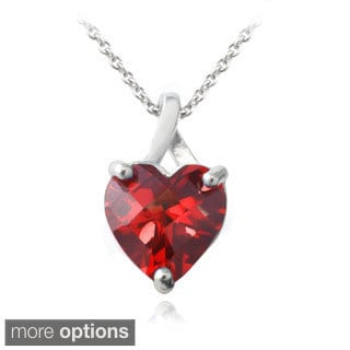 Glitzy Rocks Sterling Silver Created Ruby or Sapphire Briolette-Cut Heart Pendant Necklace