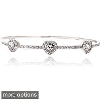 Icz Stonez Silver Tone Cubic Zirconia Three Heart Bangle Bracelet