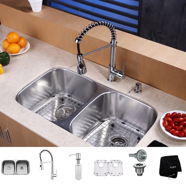 Kraus 32 Inch Undermount : KRAUS 32 Inch Undermount Double Bowl Stainless Steel Kitchen Sink with ...