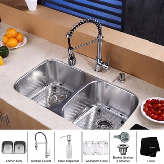 KRAUS 32 Inch Undermount Double Bowl Stainless Steel Kitchen Sink, KPF-1612 Commercial Pull Down Faucet, Soap Dispenser