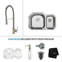 KRAUS 32 Inch Undermount Double Bowl Stainless Steel Kitchen Sink with Commercial Style Kitchen Faucet and Soap Dispenser