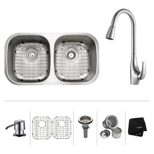 KRAUS 32 Inch Undermount Double Bowl Stainless Steel Kitchen Sink, KPF-1621 High Arch Pull Down Faucet, Soap Dispenser