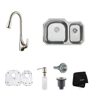 Kraus 32 inch Undermount Double Bowl Stainless Steel Kitchen Sink with Kitchen Faucet and Soap Dispenser