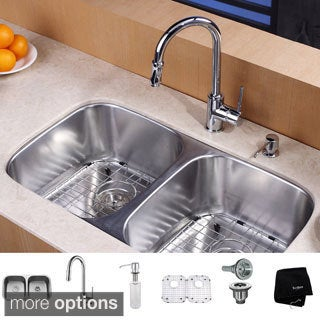 KRAUS 32 Inch Undermount Double Bowl Stainless Steel Kitchen Sink with Pull Down Kitchen Faucet and Soap Dispenser