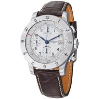 Longines Men's L27414732 'Weems' Silver Dial Brown Leather Strap Chronograph Watch