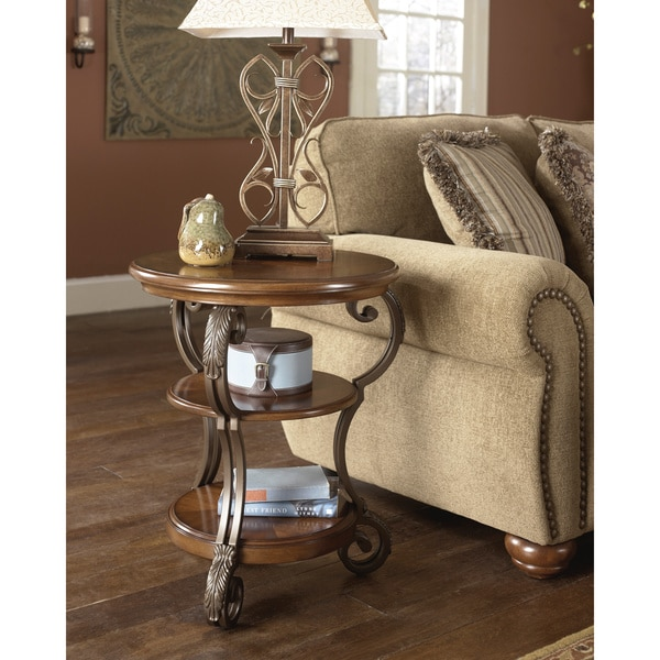 Signature Designs By Ashley U0027Nestoru0027 Medium Brown Chair Side End Table    Free Shipping Today   Overstock.com   16337350