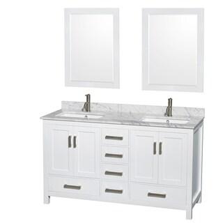 Sheffield White 60-inch Double Bathroom Vanity