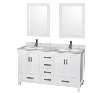 Sheffield White 60-inch Double Bathroom Vanity