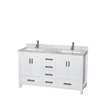 Sheffield White 60-inch Double Bathroom Vanity (4 options available)