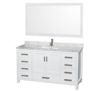 single white vanity with sink. wyndham collection sheffield 60-inch single white vanity with sink