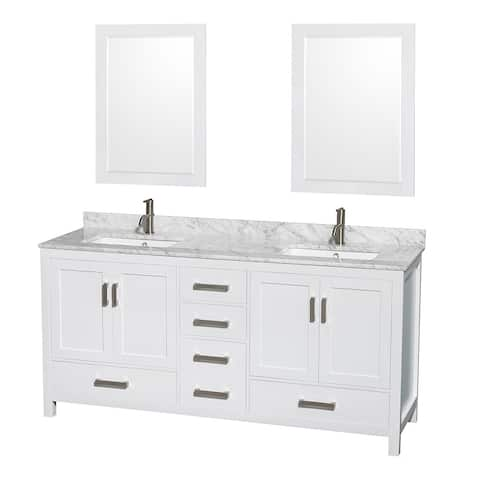 Sheffield White 72-inch Double Bathroom Vanity with Optional Mirror