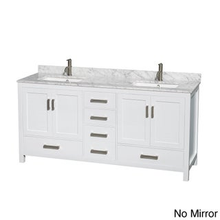 Sheffield White 72-inch Double Bathroom Vanity with Optional Mirror (4 options available)
