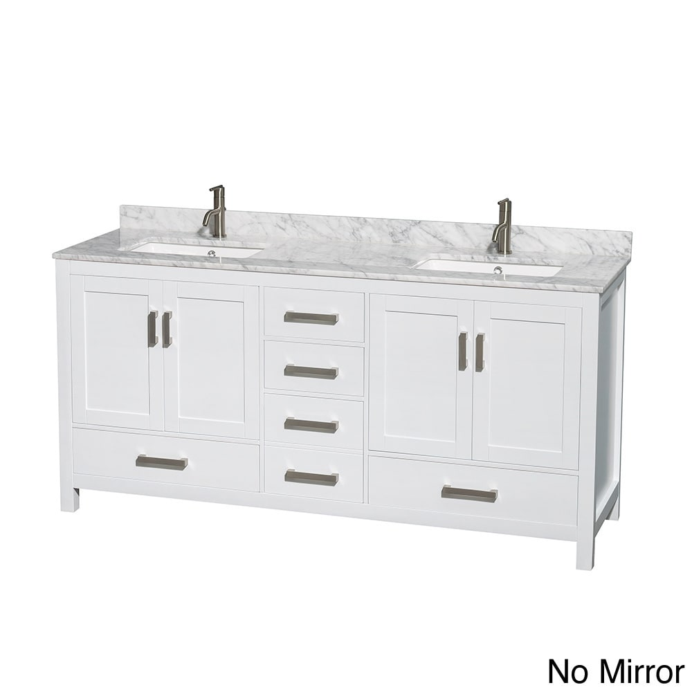 Sheffield White 72 Inch Double Bathroom Vanity With Optional Mirror (4  Options Available)
