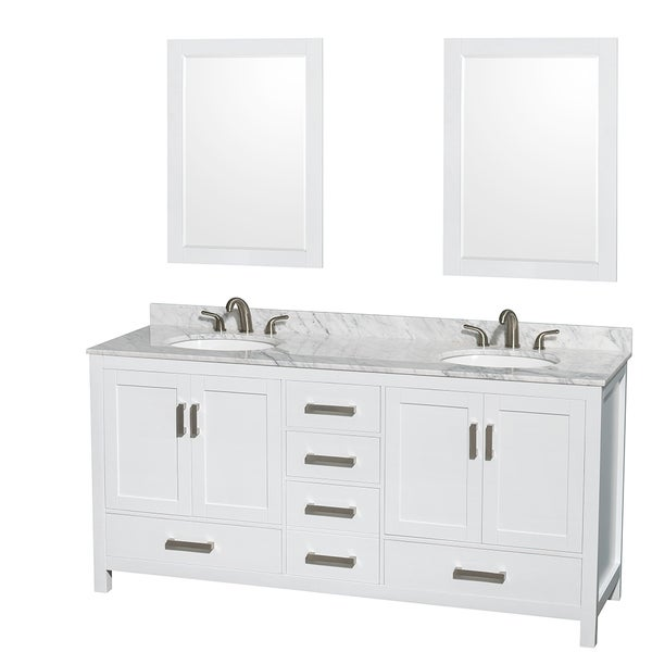 Wyndham Collection Sheffield 72 Inch Double White Vanity