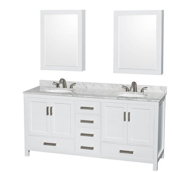 Wyndham Collection Sheffield 72 Inch Double White Vanity   Free Shipping  Today   Overstock.com   16337866
