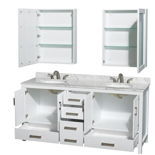 Wyndham Collection Sheffield 72 Inch Double White Vanity Overstock 9158922