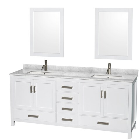 Sheffield White 80-inch Double Bathroom Vanity with Optional Mirrors
