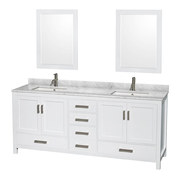 sheffield white 80-inch double bathroom vanity with optional