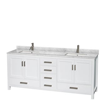 Sheffield White 80-inch Double Bathroom Vanity with Optional Mirrors (4 options available)