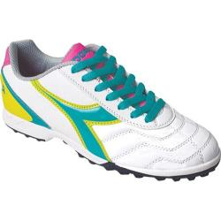 Women's Diadora Capitano LT TF W White/Teal/Yellow/Pink