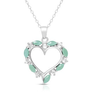 Dolce Giavonna Sterling Silver Gemstone Heart Necklace in a Gift Box