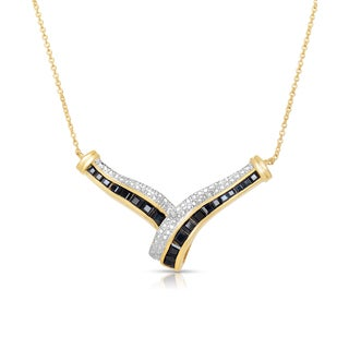 Dolce Giavonna Gold Over Sterling Silver Diamond Accent Sapphire Necklace with Gift Box