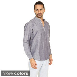 Handmade In-Sattva Anita Dongre Men's Embellished Hook and Eye Placket Pullover Tunic (India)