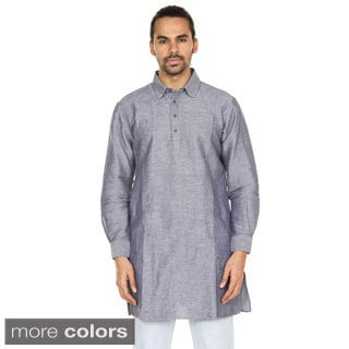 Handmade In-Sattva Anita Dongre Men's Long Pullover Collard Kurta Tunic (India)