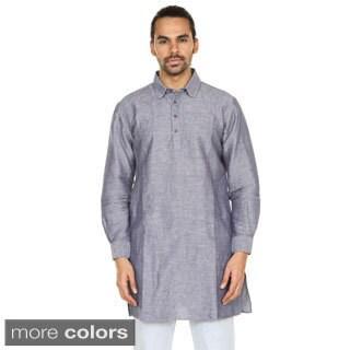 Handmade In-Sattva Anita Dongre Men's Long Pullover Collard Kurta Tunic (India)