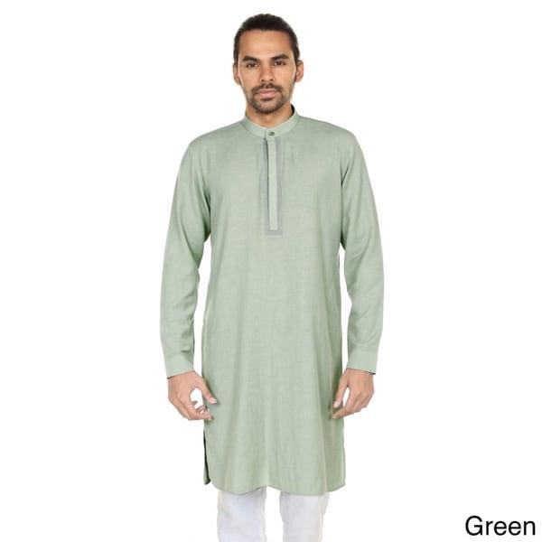 46cf0969493 Handmade In-Sattva Anita Dongre Men's Embellished Mandarin Collar Long  Pullover