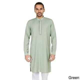 Handmade In-Sattva Anita Dongre Men's Embellished Mandarin Collar Long Pullover Kurta Tunic (India)
