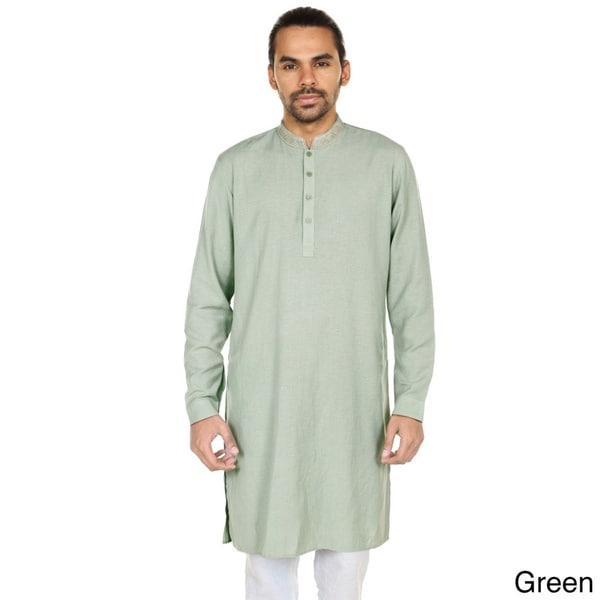 Handmade In-Sattva Anita Dongre Mens Printed Mandarin Collar Long Pullover Kurta Tunic (India)