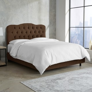 Skyline Furniture Tufted Bed in Velvet Chocolate