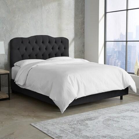 Skyline Furniture Tufted Bed in Velvet Black