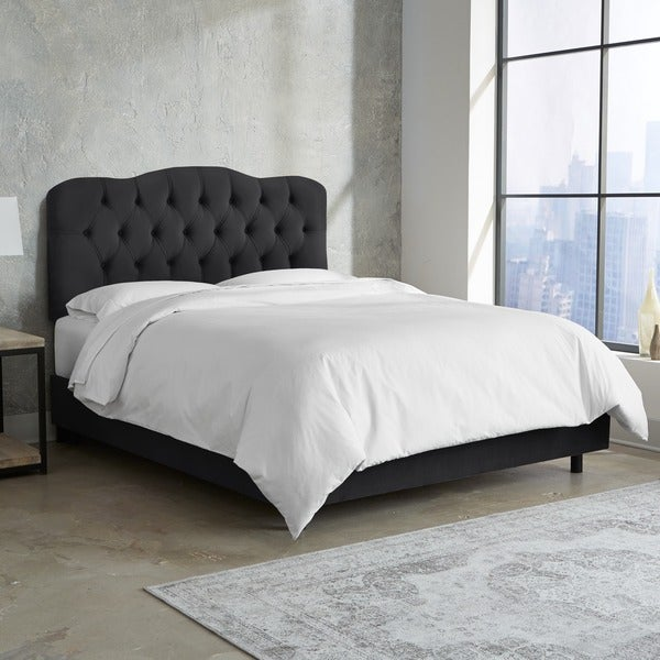 skyline furniture tufted bed in velvet black - Black Tufted Bed