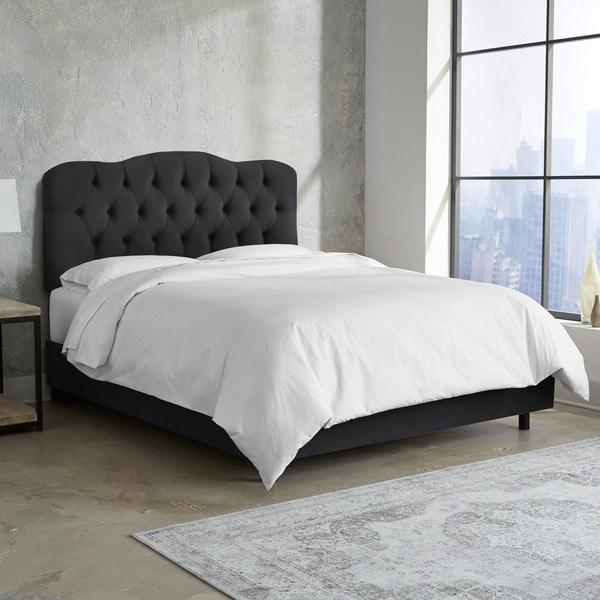 Skyline Furniture Tufted Bed in Velvet Black. Opens flyout.
