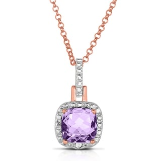 Dolce Giavonna Gold Over Sterling Silver Diamond Accent and Amethyst Square Necklace