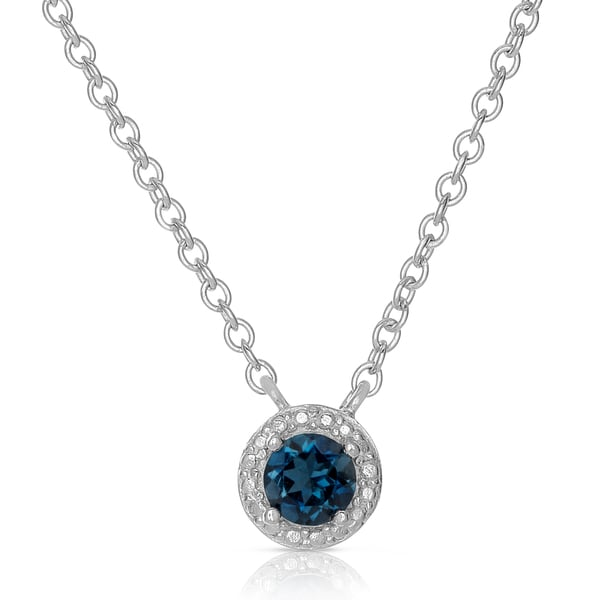 Dolce Giavonna Sterling Silver London Blue Topaz Circle Design Necklace
