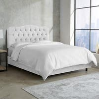 Skyline Furniture White Velvet Tufted Bed