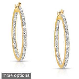 Finesque Sterling Silver 1/2ct TDW Diamond Hoop Earrings - White