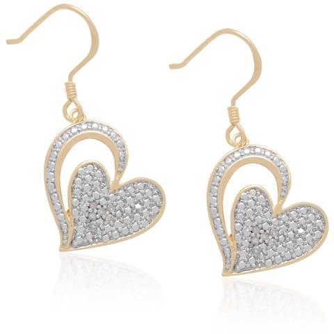 Finesque Two Tone Sterling Silver Diamond Heart Dangle Earrings
