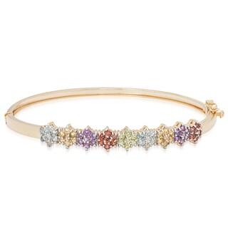 Dolce Giavonna Gold Over Sterling Silver Multi Gemstone Flower Design Bangle