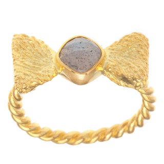 Chloe 18k Yellow Gold Overlay Labradorite Bow Fashion Ring